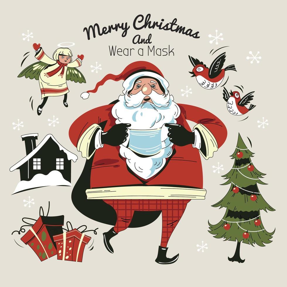Babbo Natale che cammina e indossa la maschera vettore