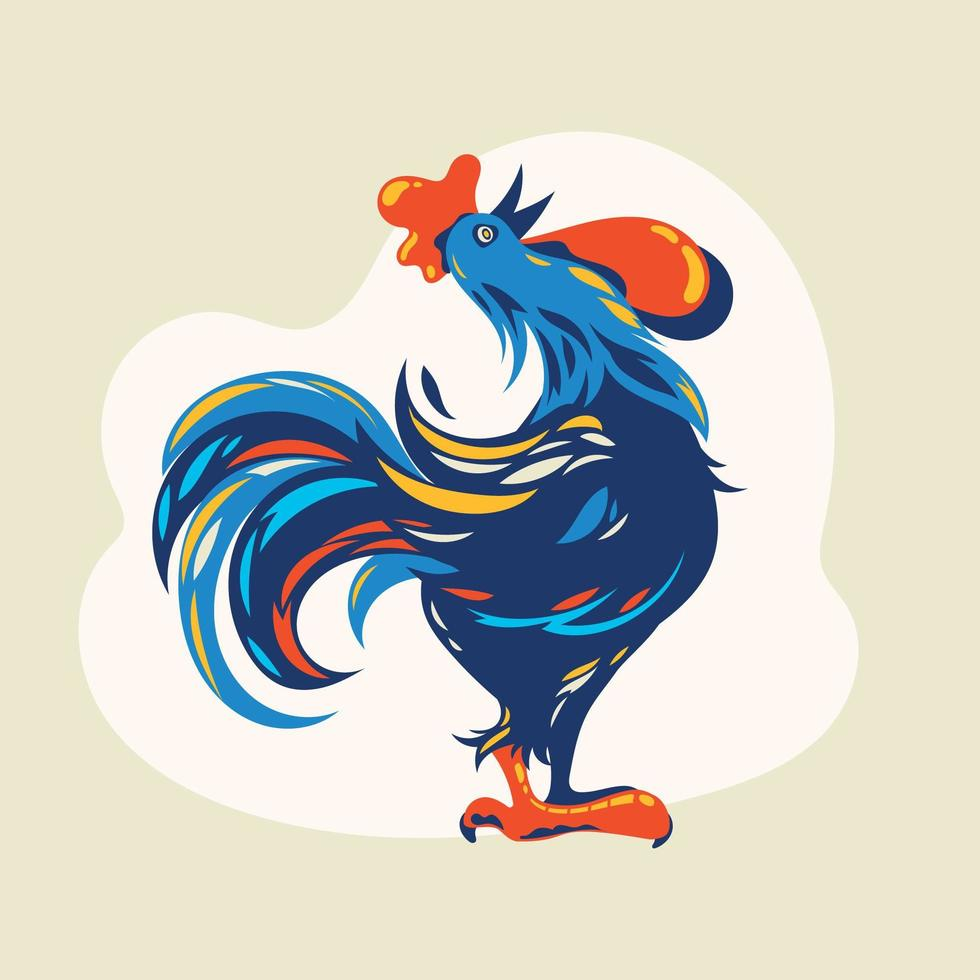 bellissimo cartone animato gallo vettore