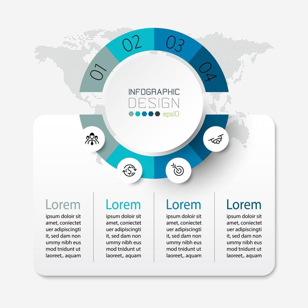 opzioni di infografica aziendale di forme circolari e quadrate vettore