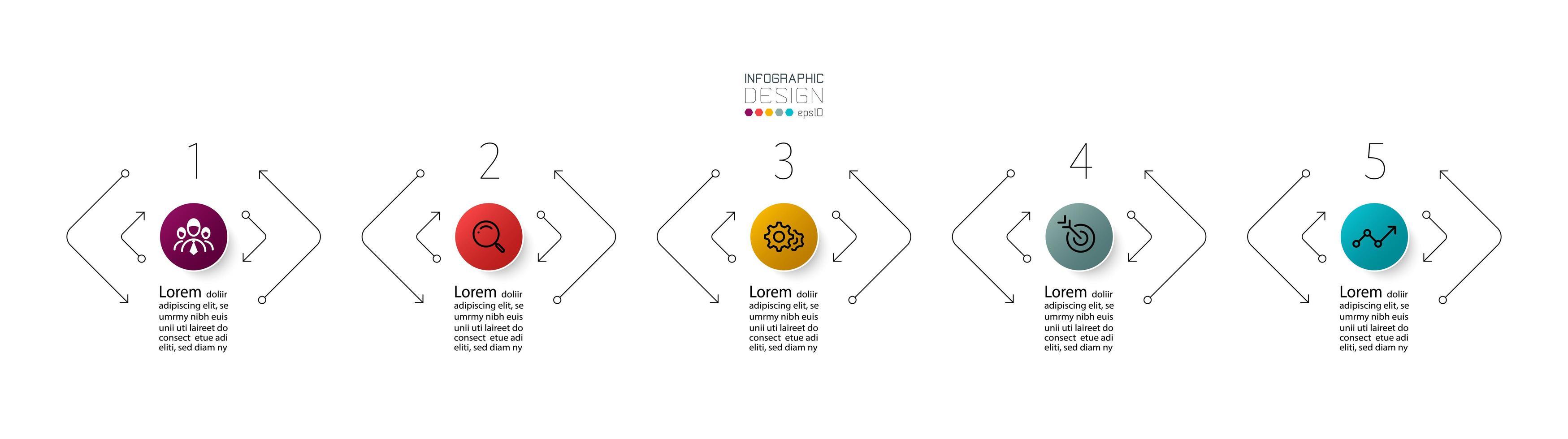 piano delle opzioni in cinque fasi vettore