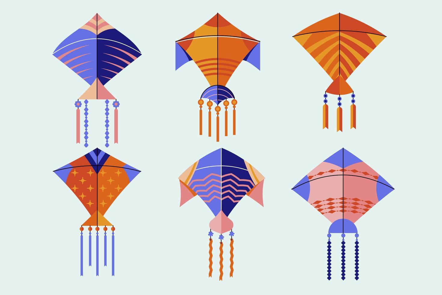 set di aquiloni multicolori vettore