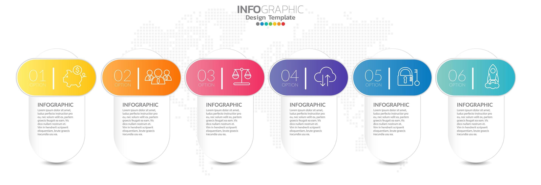 infografica timeline con icone passo e marketing vettore