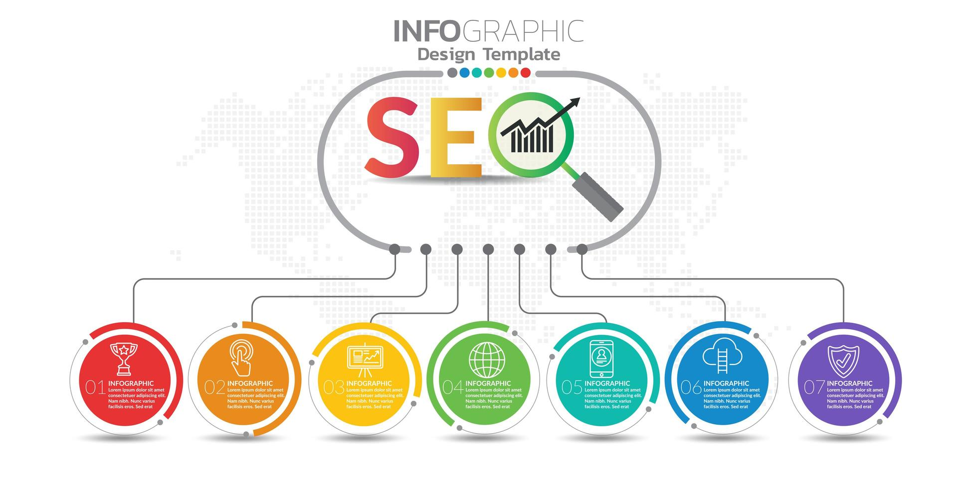 banner di marketing online digitale con icone per contenuti aziendali. vettore