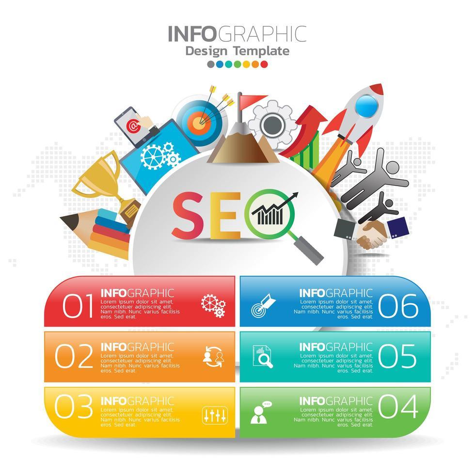 illustrazione di concetto infografica di infografica seo con modello di layout aziendale. vettore