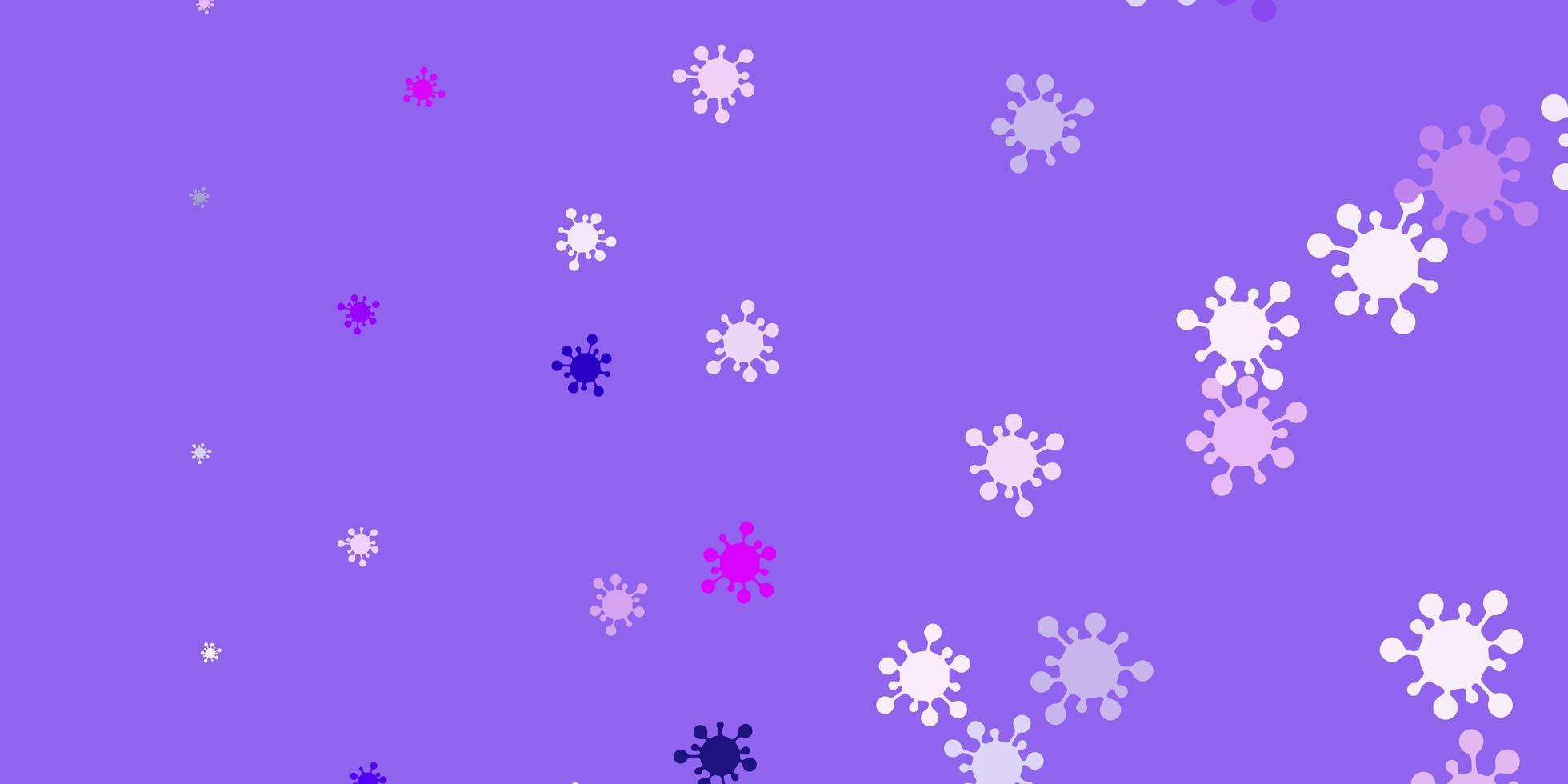 sfondo vettoriale viola chiaro, rosa con simboli di virus