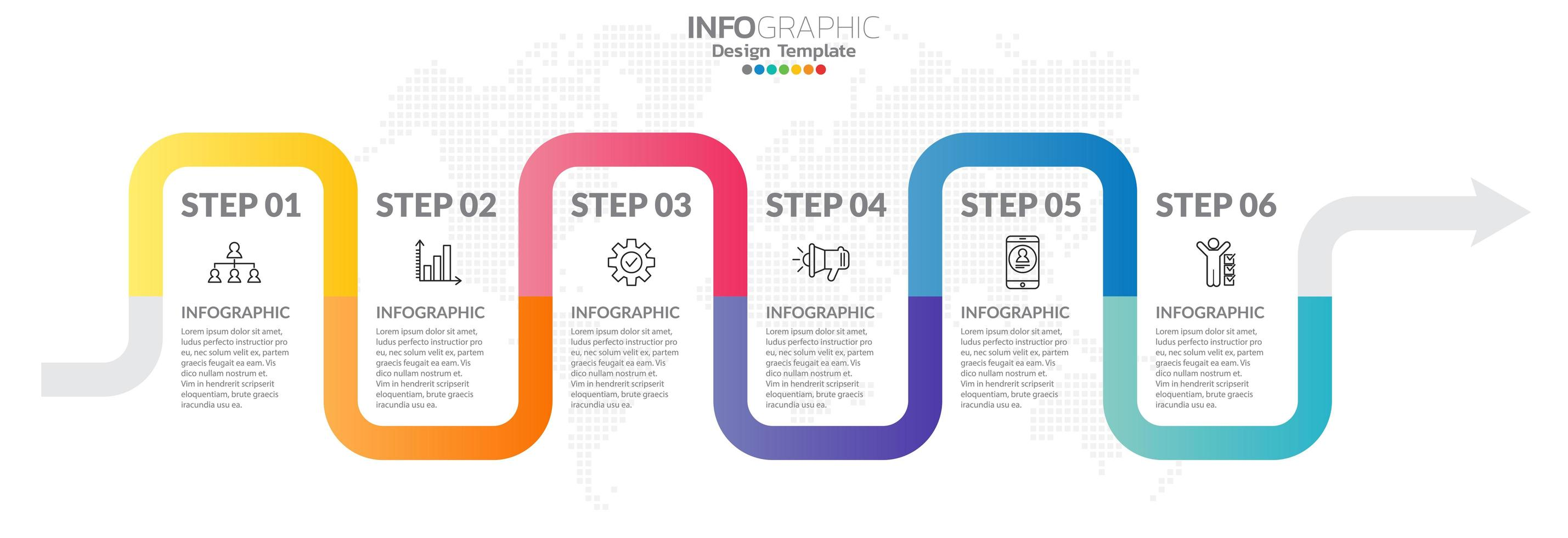 infografica timeline con icone passo e marketing vettore