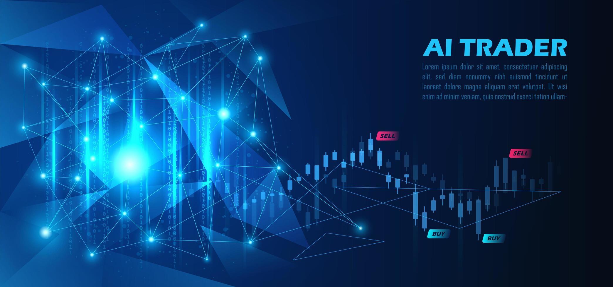 grafico di azioni di trading di intelligenza artificiale vettore