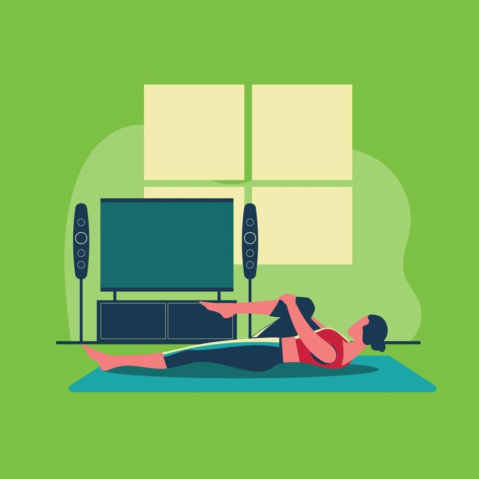esercizio sportivo e allenamento a casa durante il covid-19 vettore