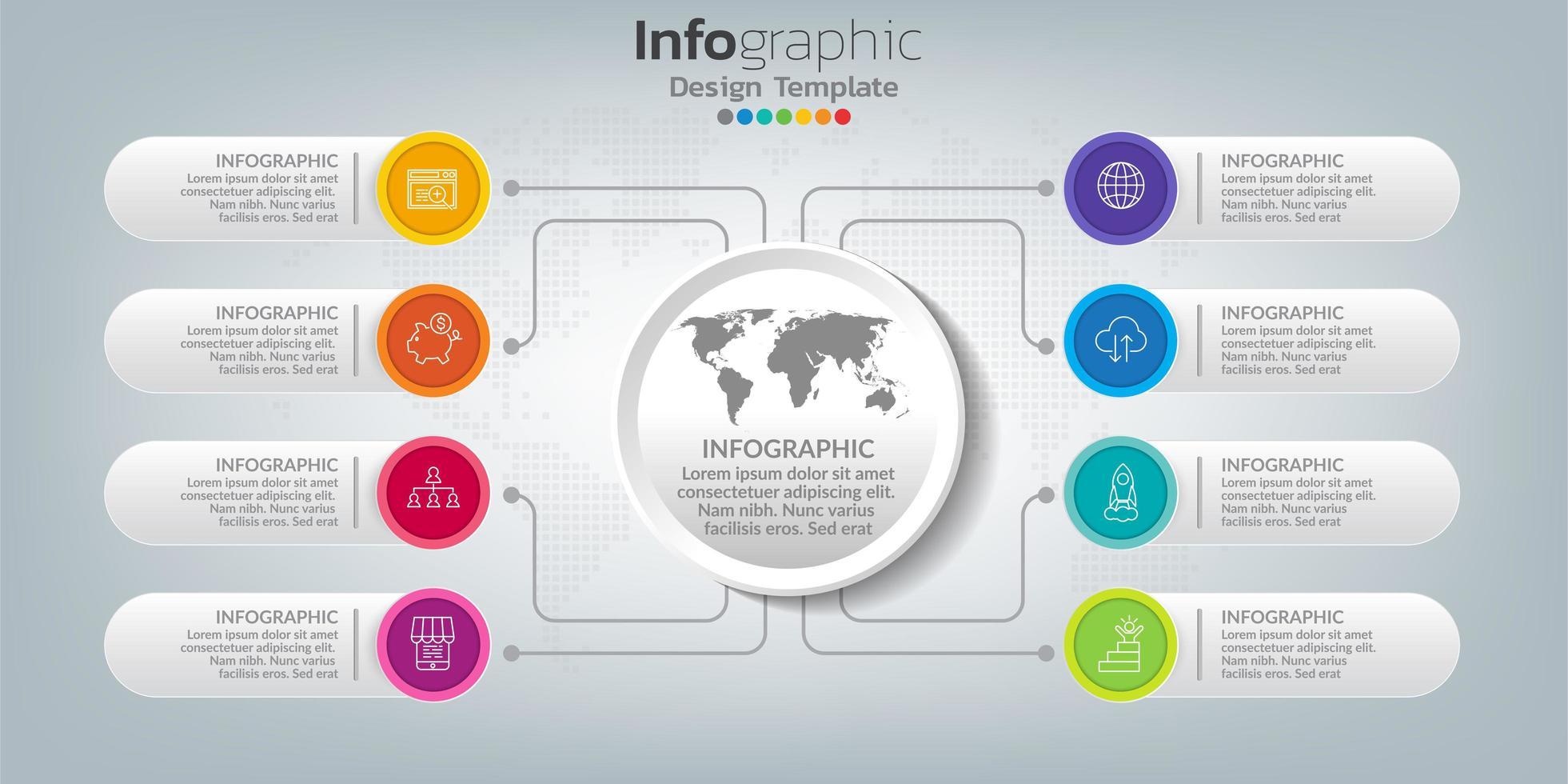 infografica nel concetto di business con 8 opzioni, passaggi o processi. vettore