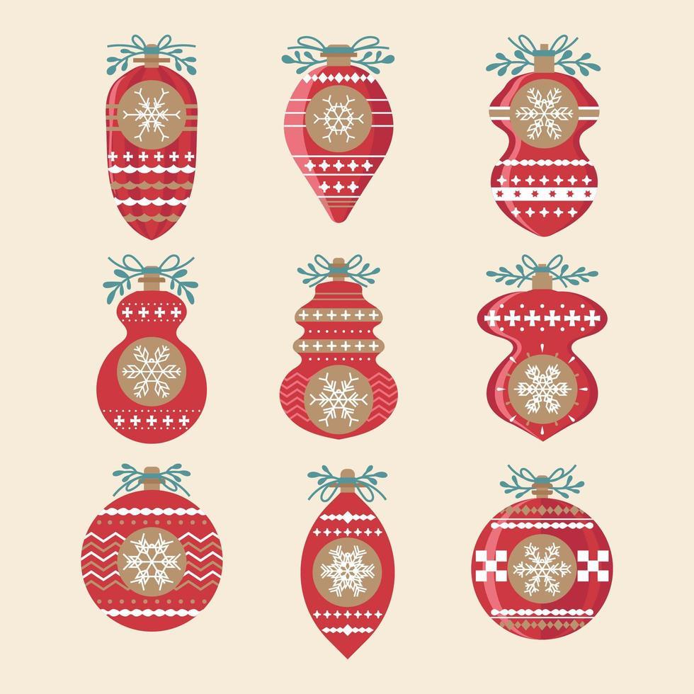 set di decorazioni di palle di Natale vettore