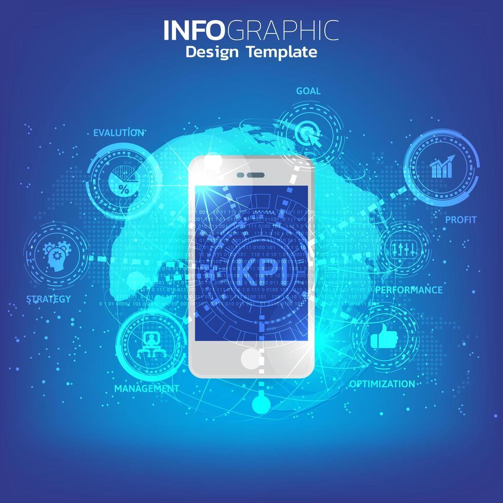 uno smartphone e un'icona con il concetto di kpi. vettore