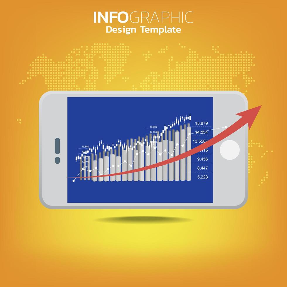 big data e concetto di mobilità con dispositivi collegati come smart phone. vettore