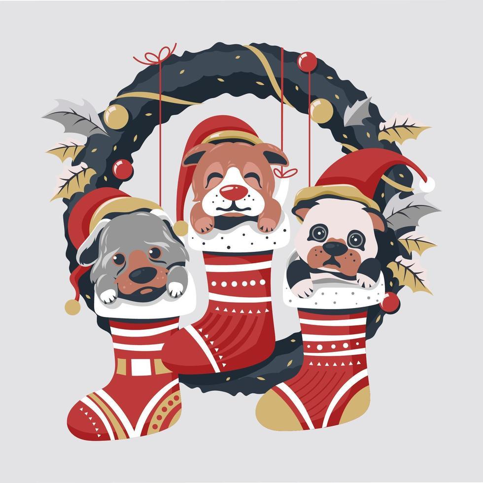 simpatici cani a Natale con ghirlanda vettore