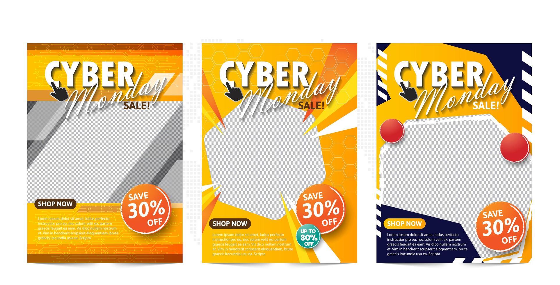 modello di banner di vendita cyber lunedì con tema giallo. vettore