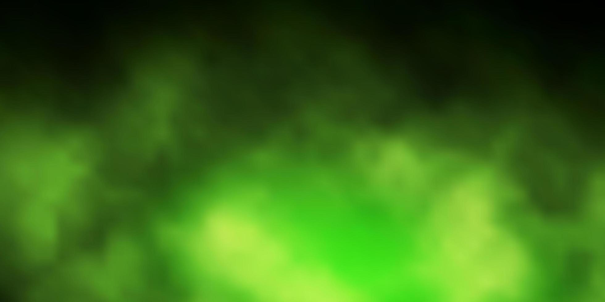 sfondo vettoriale verde scuro con nuvole.
