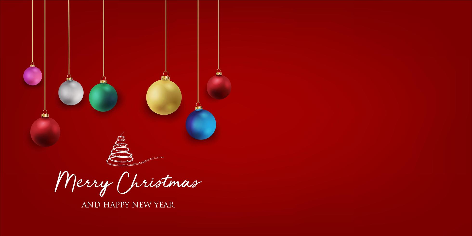 banner di Natale con sfondo e decorazioni natalizie. testo buon natale e felice anno nuovo. vettore