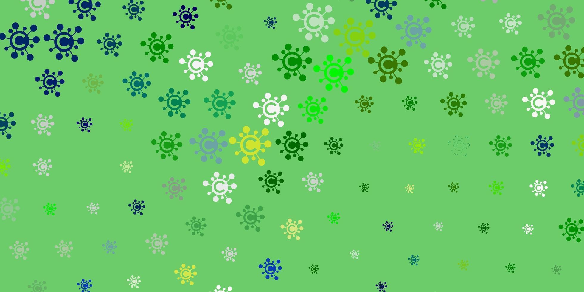 sfondo vettoriale azzurro e verde con simboli covid-19