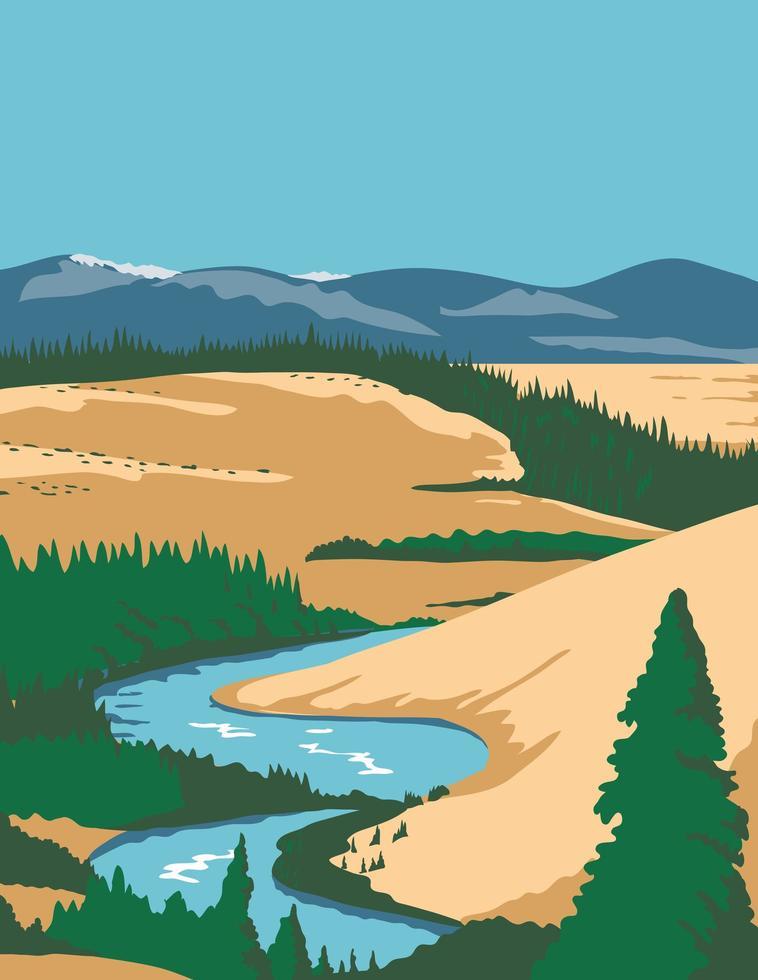 poster art della valle dell'Alaska vettore
