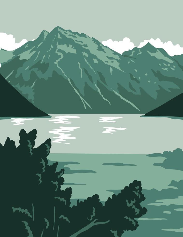 poster art del lago alaskan vettore