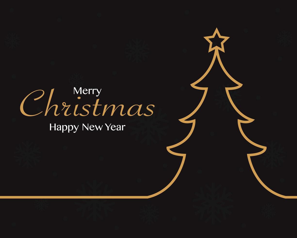 buon natale felice anno nuovo con sfondo albero di natale vettore