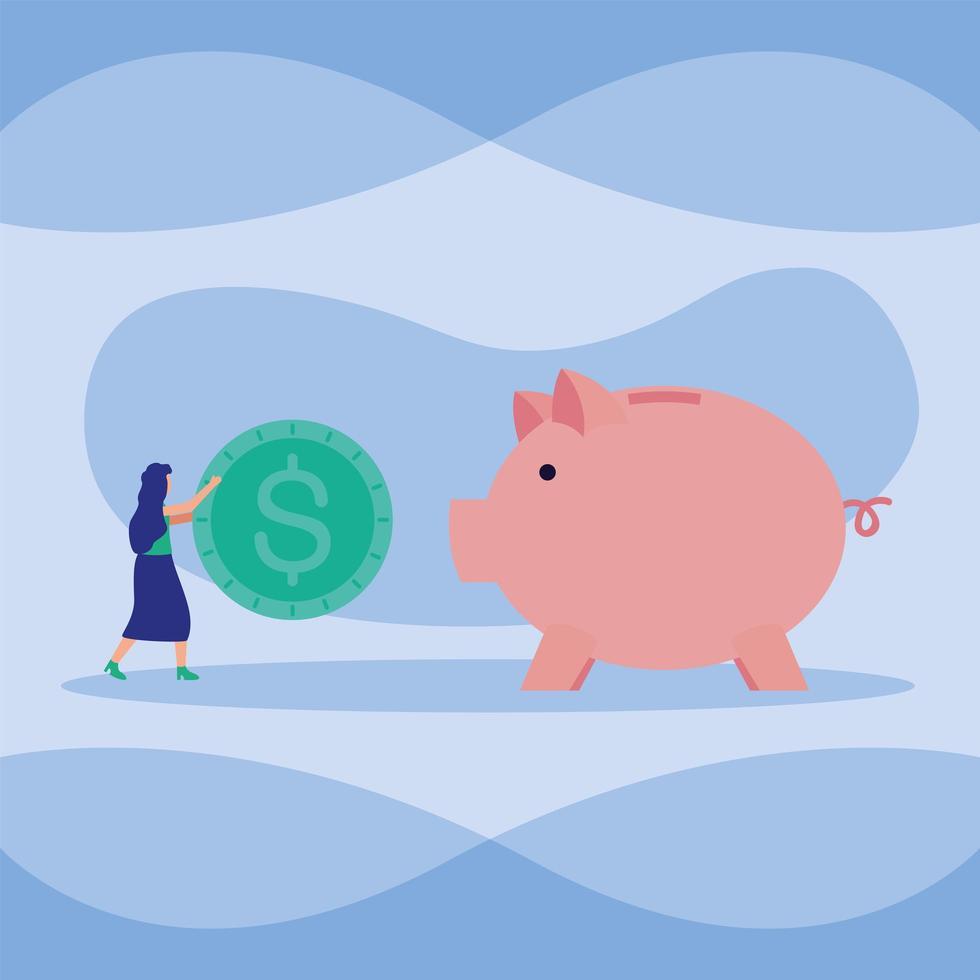 avatar donna con maschera e moneta sul disegno vettoriale piggy