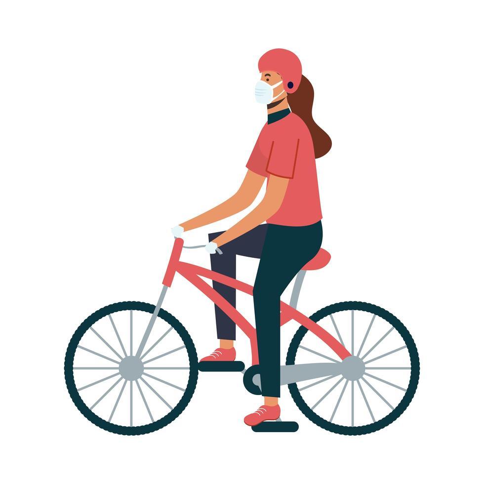 donna di consegna isolato con maschera in sella a bici disegno vettoriale