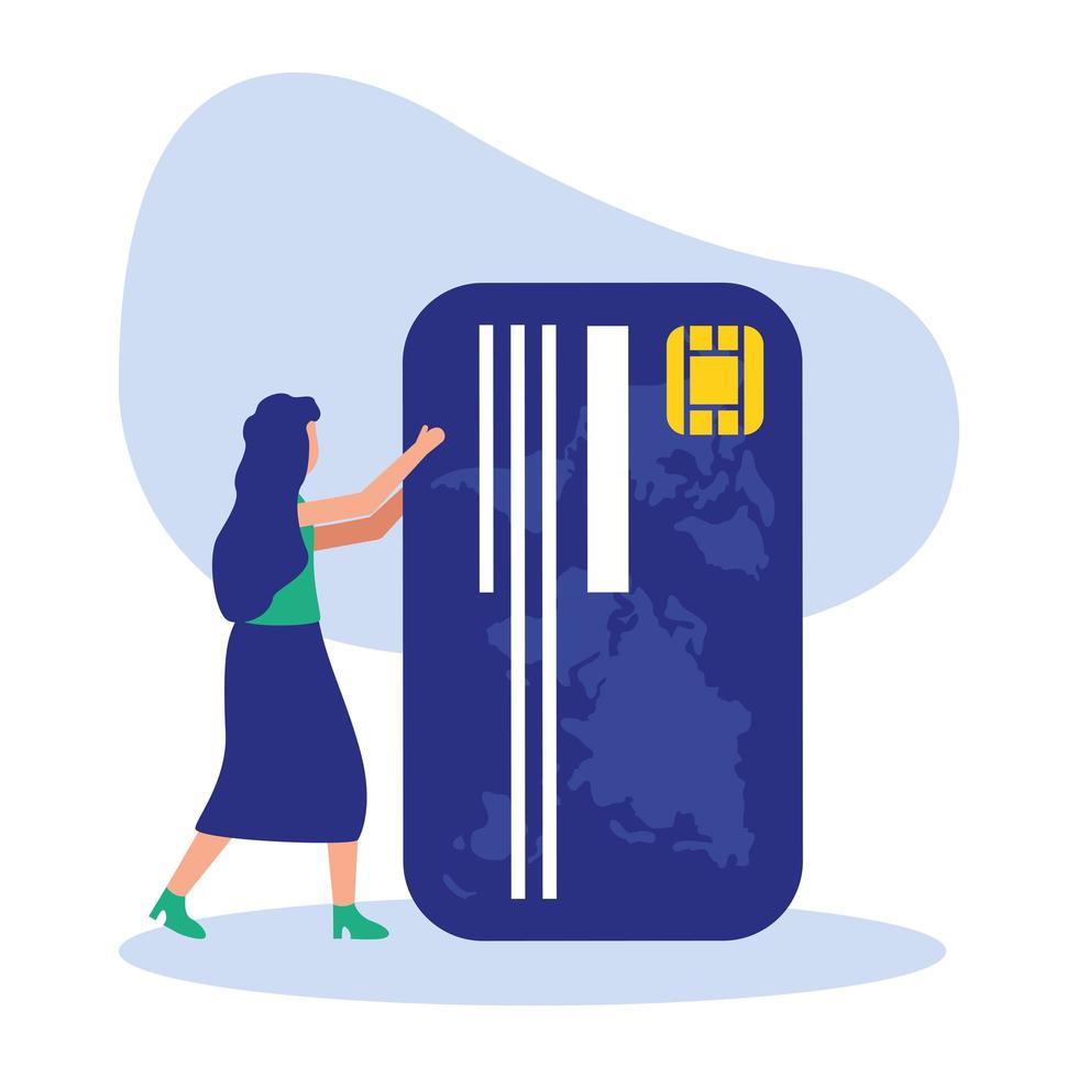 avatar donna con disegno vettoriale di carta di credito