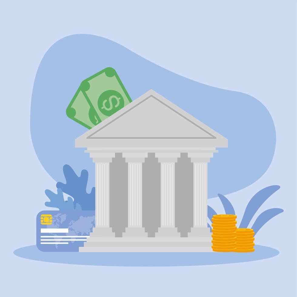 banca con banconote monete e disegno vettoriale di carta di credito