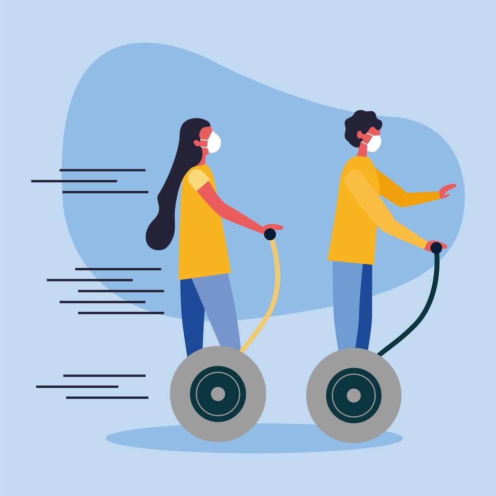 donna e uomo con mascherina medica su disegno vettoriale hoverboard