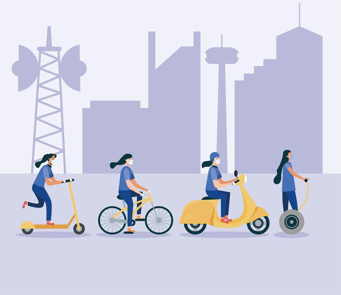 donne con maschere su hoverboard scooter bici e moto disegno vettoriale
