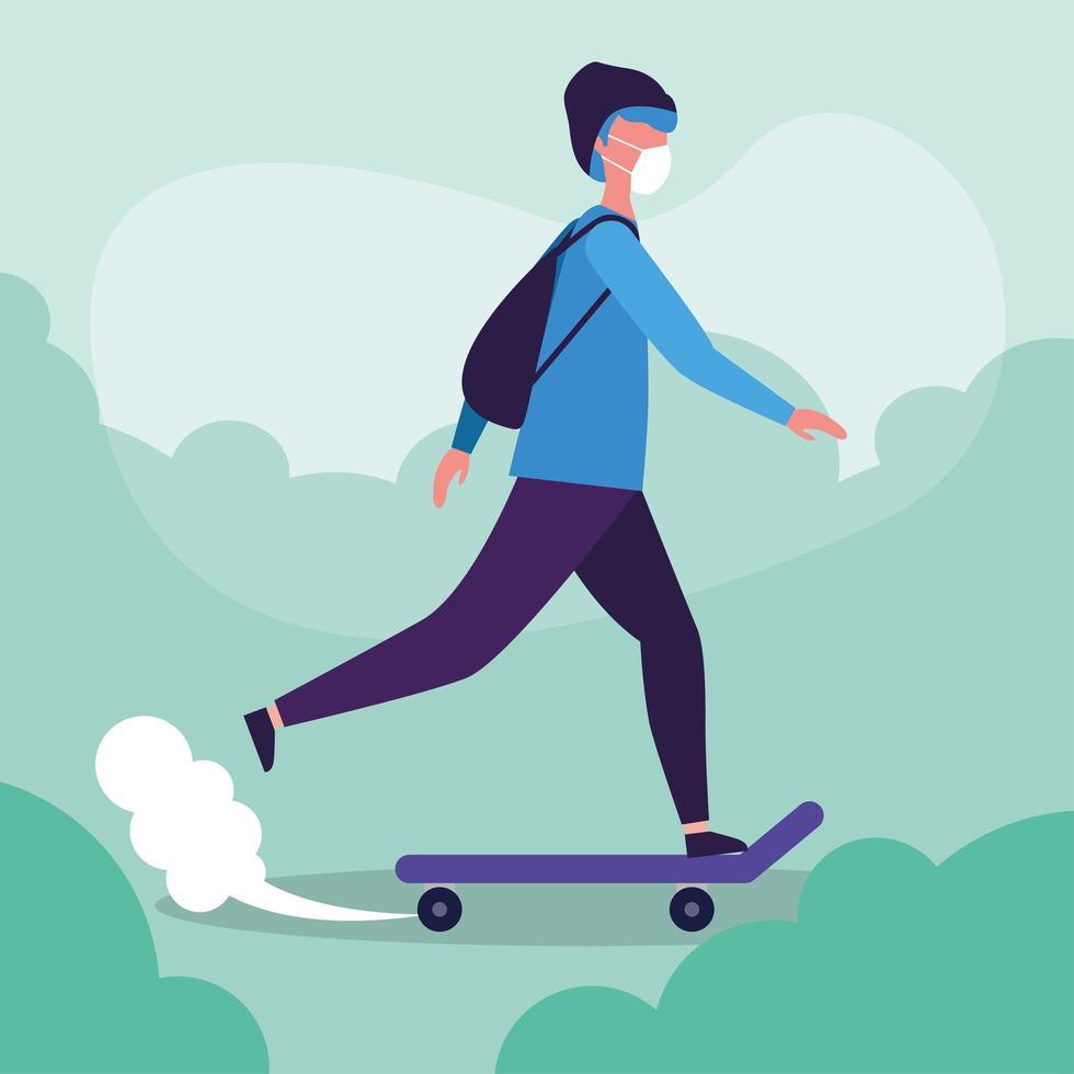 uomo con maschera medica su disegno vettoriale di skateboard