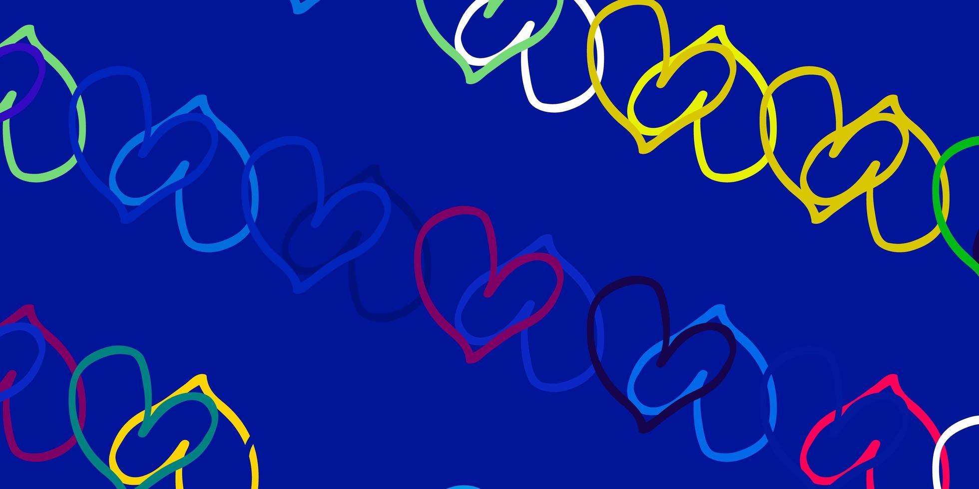 modello di vettore multicolore chiaro con cuori di doodle.