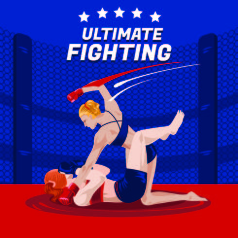 Battle of Two Women Boxers su Ultimate Fighting vettore