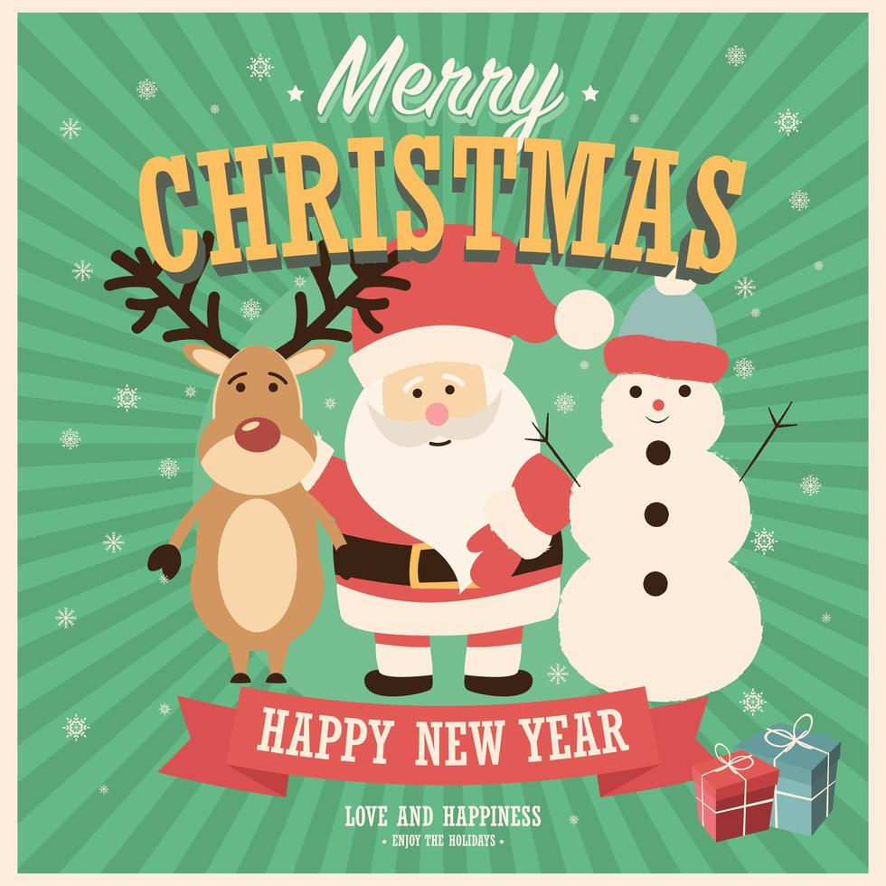 buon natale card con babbo natale, pupazzo di neve e renne con scatole regalo vettore