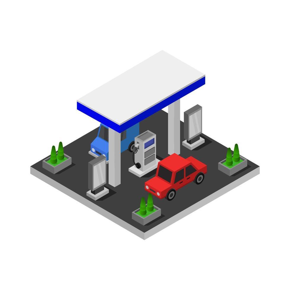 stazione di servizio isometrica illustrato su sfondo bianco vettore