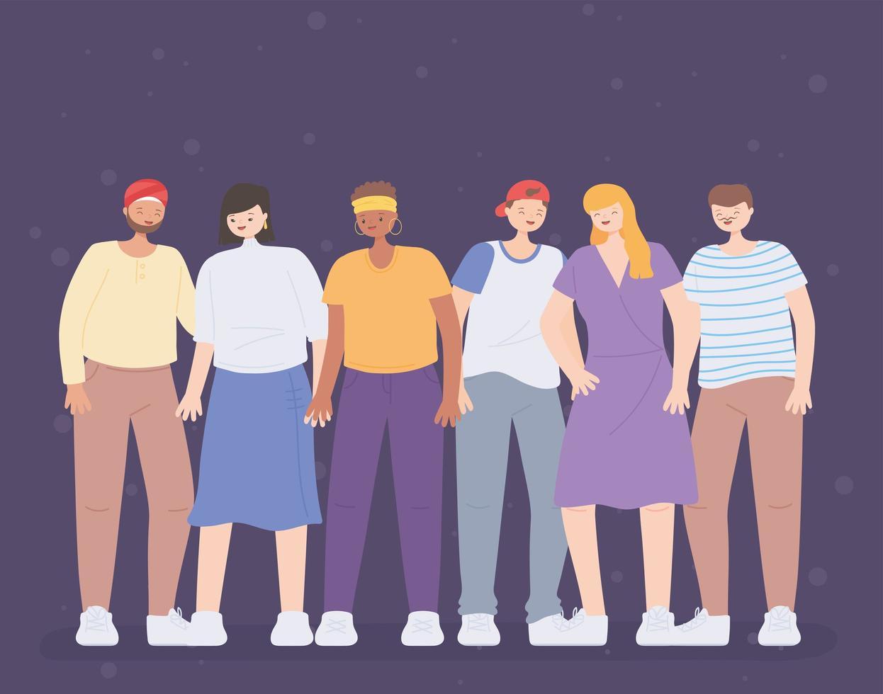diverse persone multirazziali e multiculturali, persone figure diversità cartone animato avatar vettore