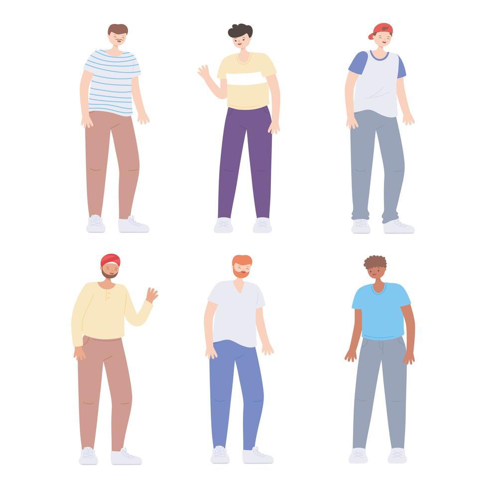 diverse persone multirazziali e multiculturali, diversità uomini giovani cartoni animati di gruppo vettore