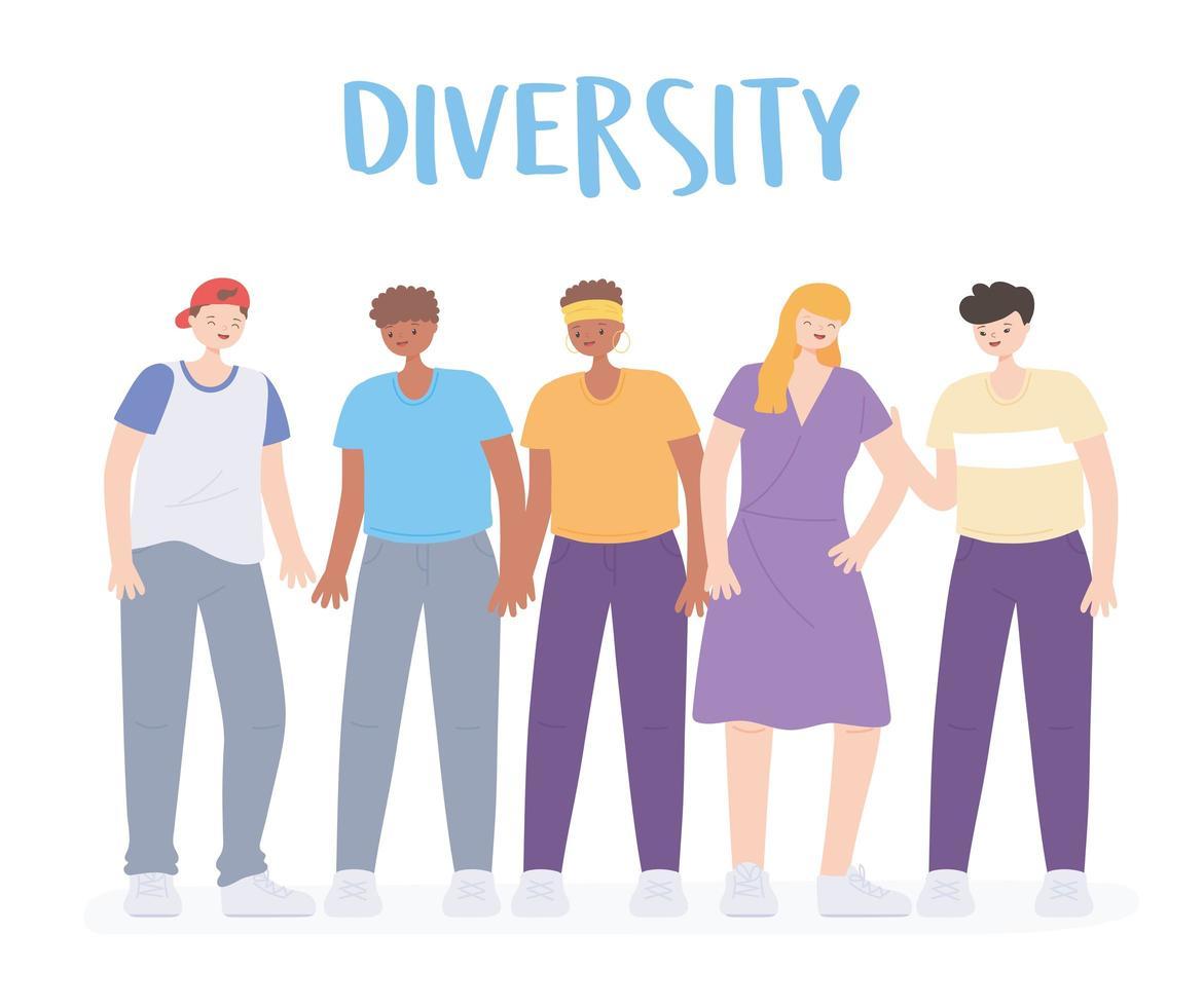 persone diverse, multirazziali e multiculturali, raggruppano uomini e donne insieme vettore