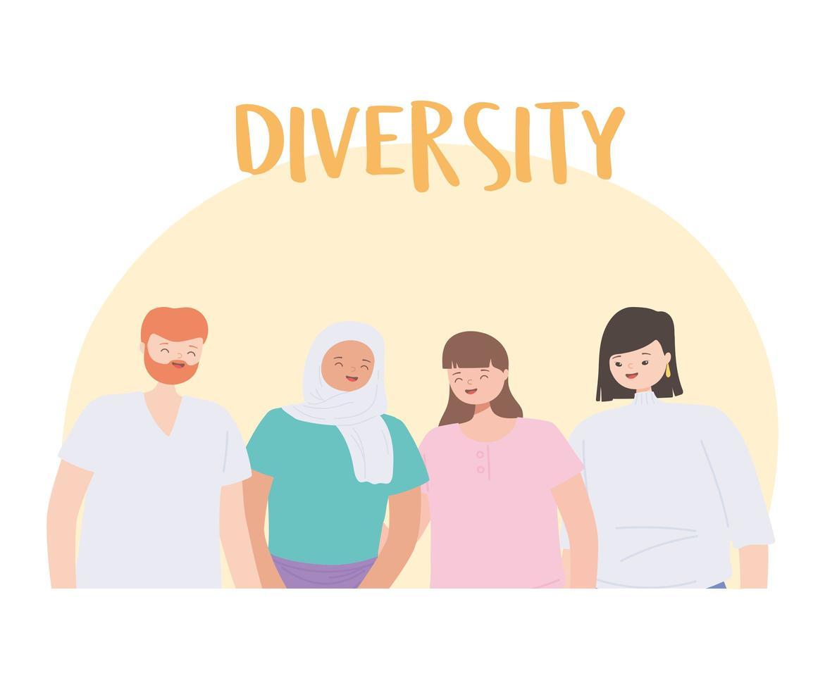 diverse persone multirazziali e multiculturali, giovani persone del gruppo insieme personaggi vettore