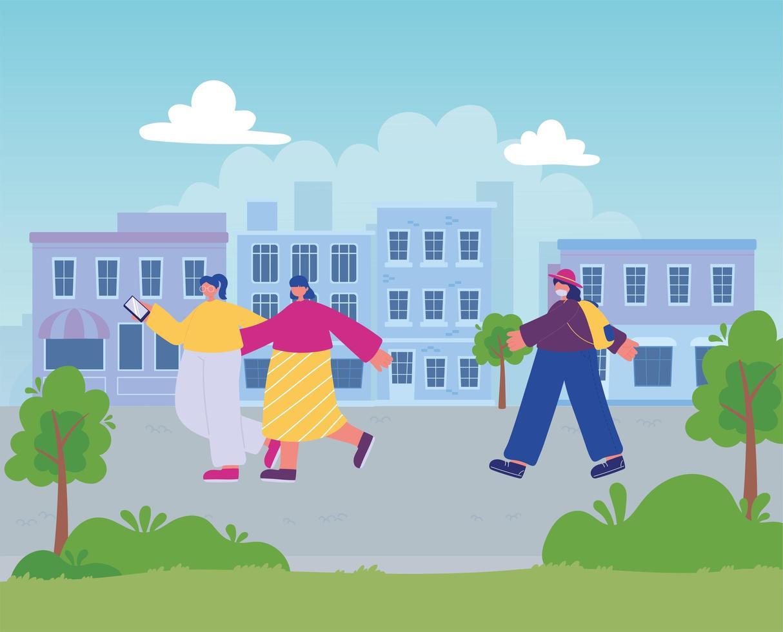 donne che camminano nella strada della città, con lo smartphone e la donna con la borsa vettore