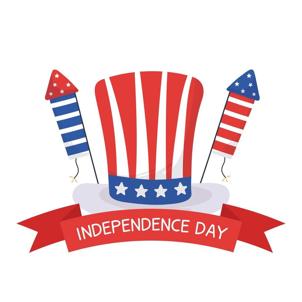 giorno di indipendenza cappello e fuochi d'artificio disegno vettoriale