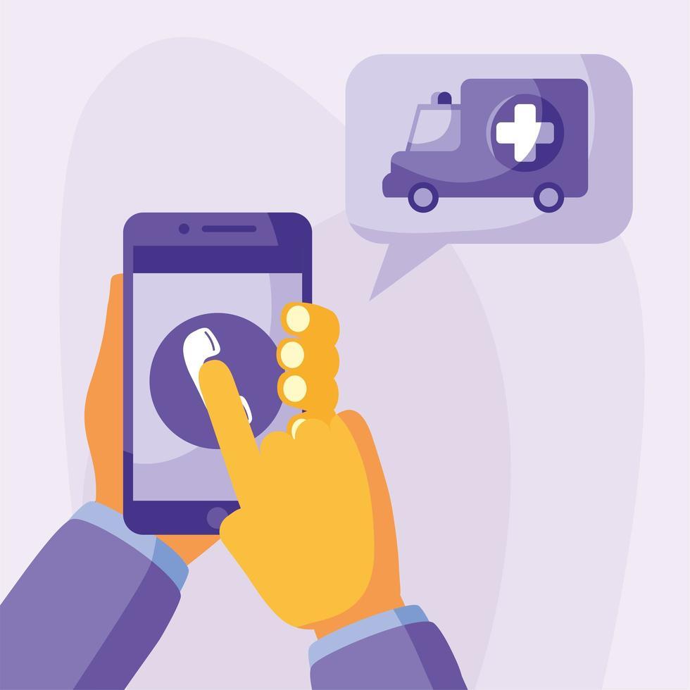 mano che tiene smartphone con telefono e disegno vettoriale ambulanza
