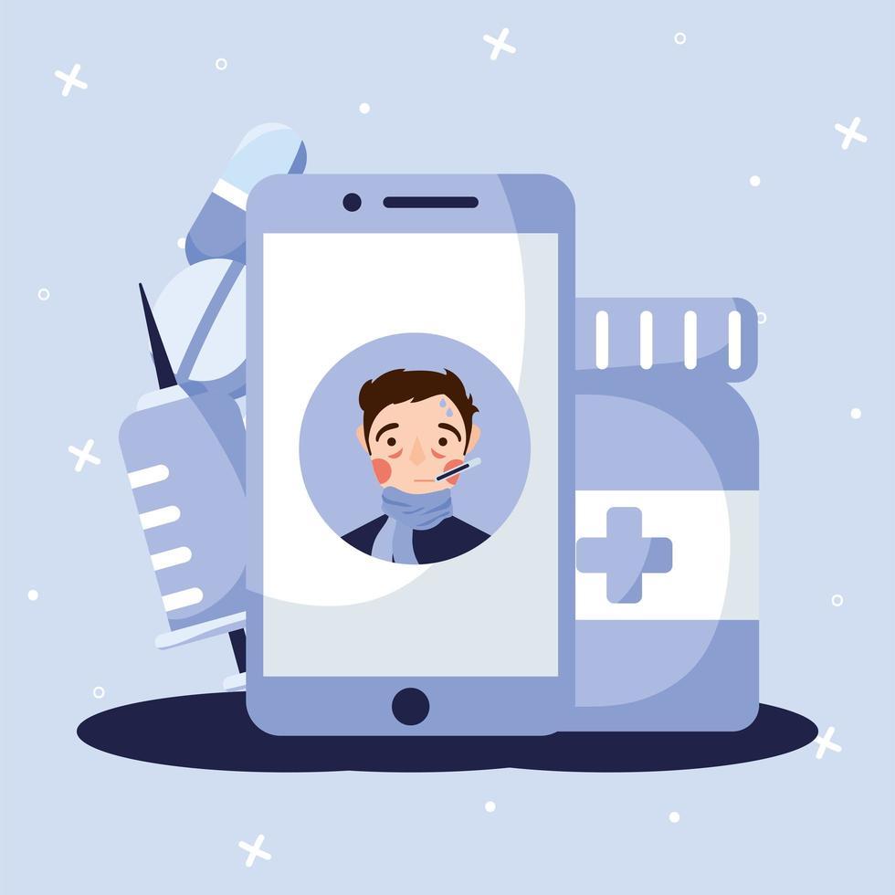 uomo con febbre su disegno vettoriale smartphone