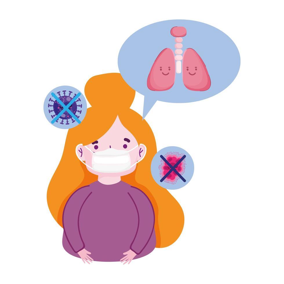 pandemia di coronavirus covid 19, ragazza che indossa una maschera per prevenire vettore