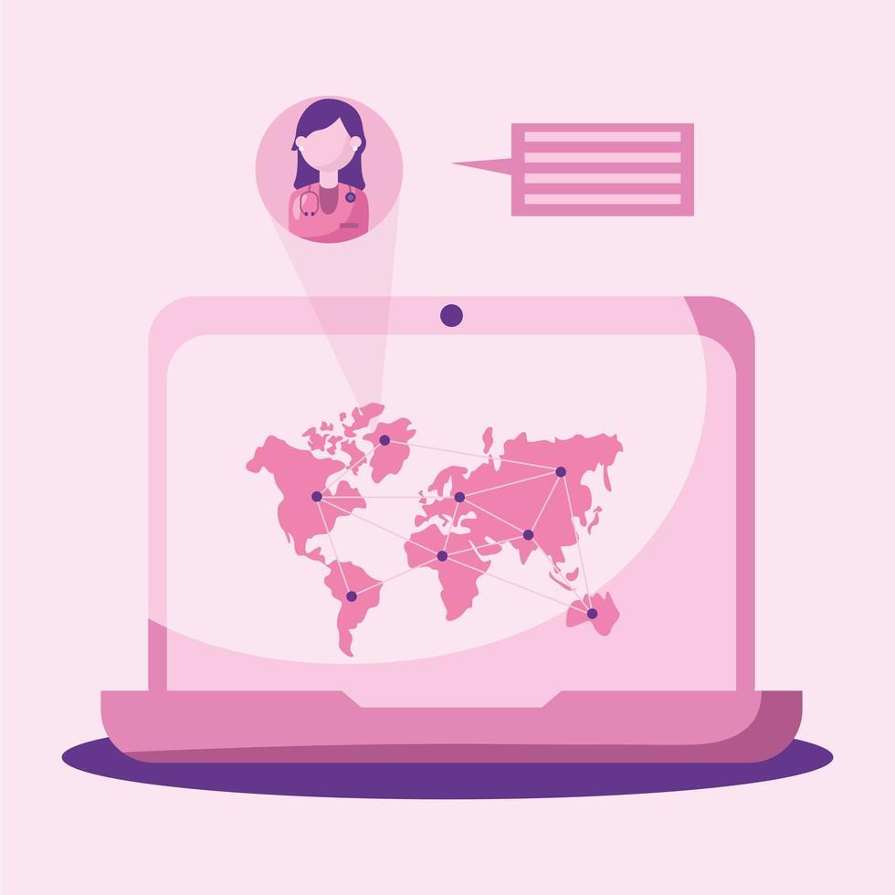 medico femminile in linea con bolla del computer portatile e disegno vettoriale mappa del mondo