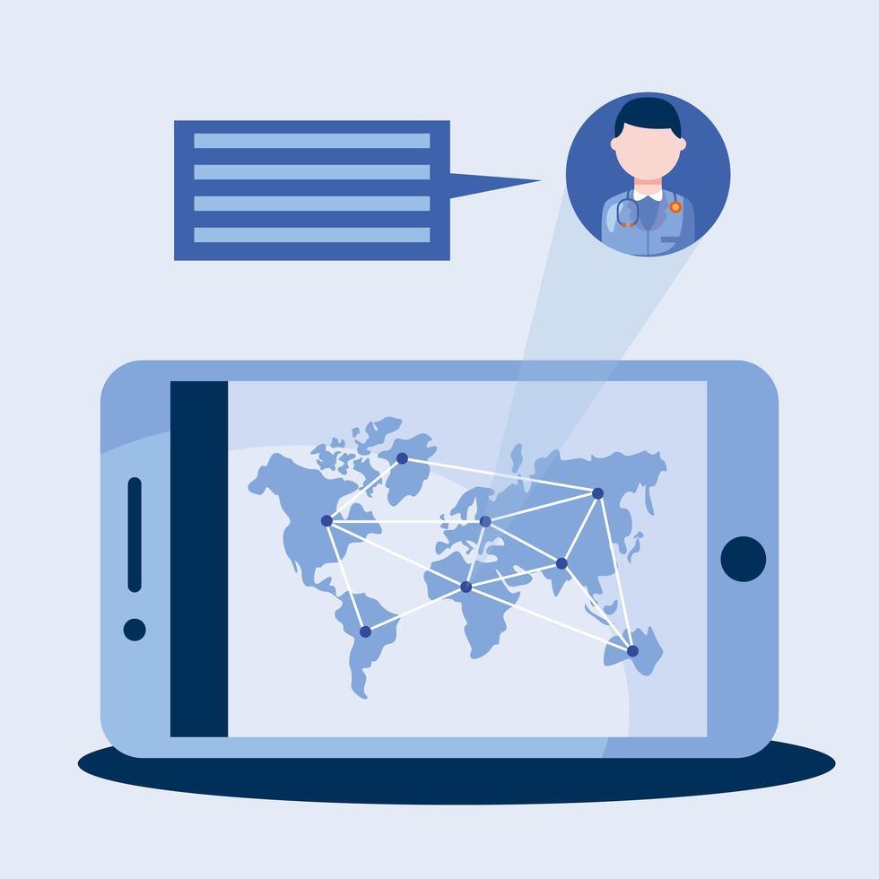 medico maschio in linea con bolla dello smartphone e disegno vettoriale mappa del mondo