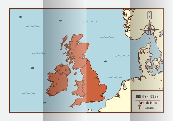 Vettore britannico dell'illustrazione della mappa delle isole