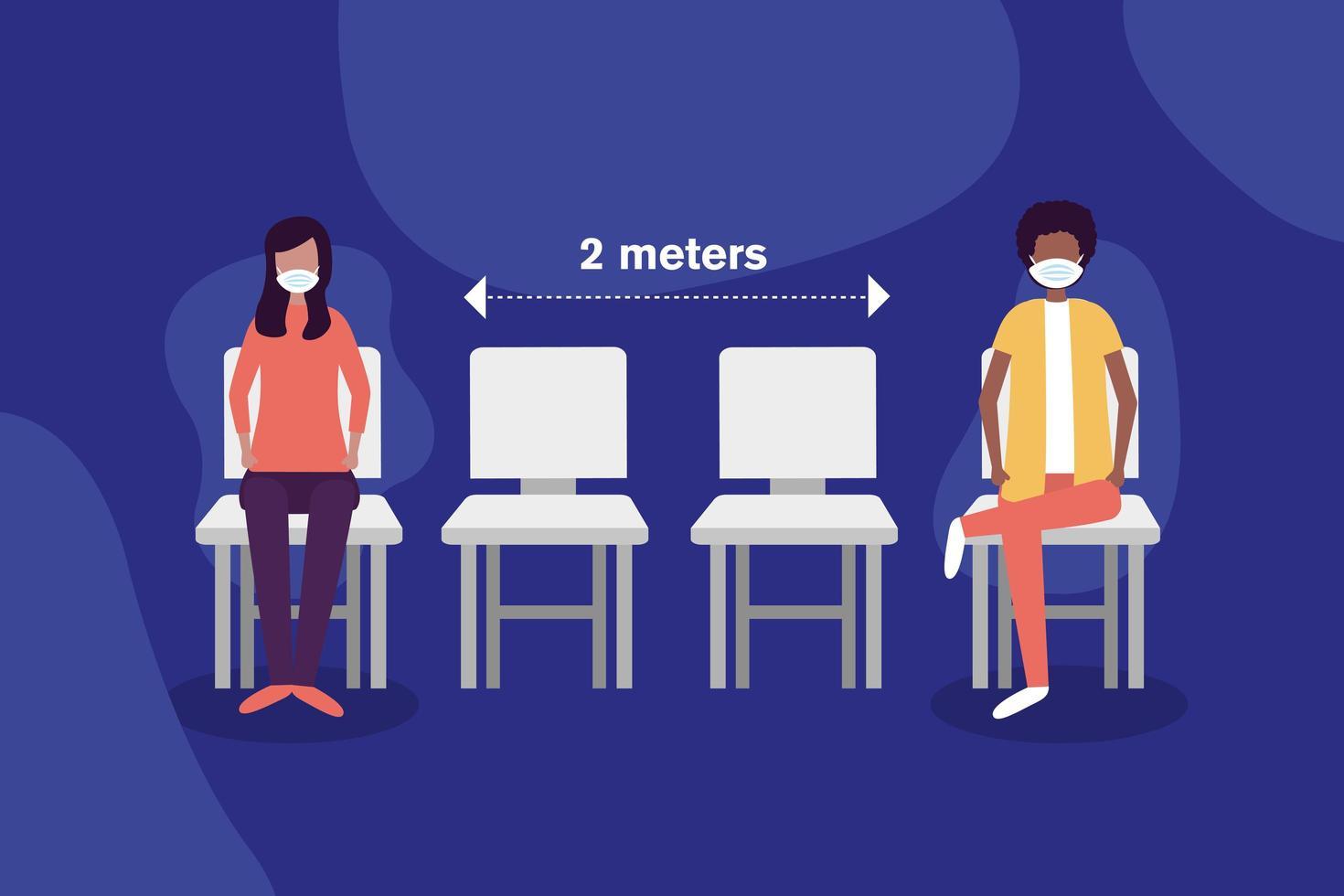 distanza sociale tra ragazzo e ragazza con maschere su sedie disegno vettoriale