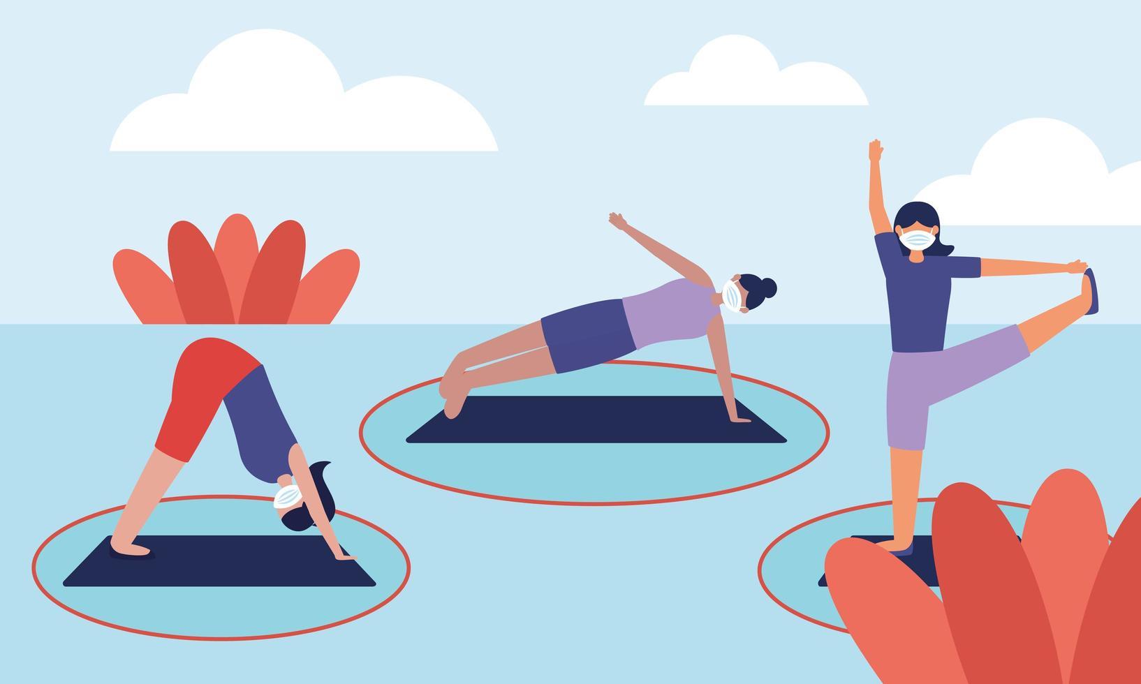 distanza sociale tra donne con maschere che fanno yoga disegno vettoriale