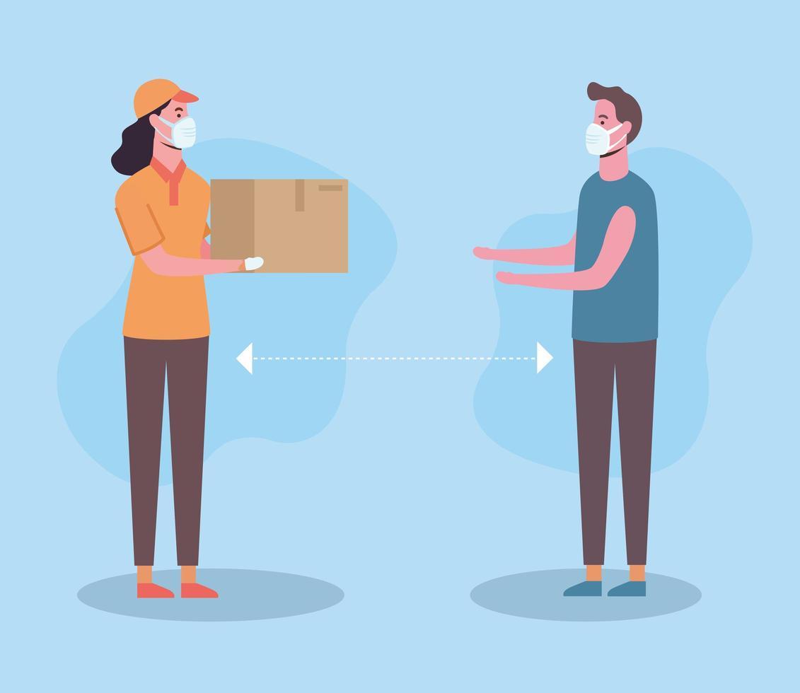 distanza sociale tra donna di consegna e uomo con disegno vettoriale maschere